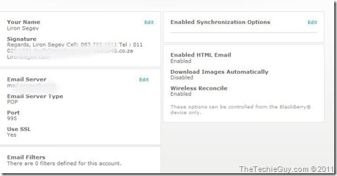 blackberry console - email options