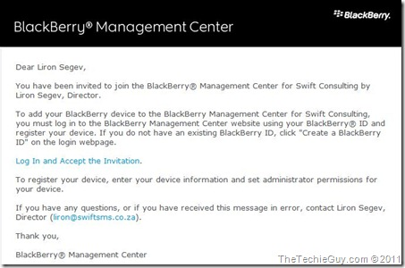 blackberry console - email