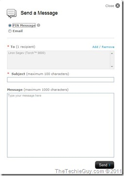blackberry console - msg users
