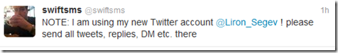 Twitter - leave a forward message on your old account