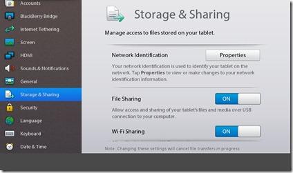 Blackberry Playbook 2.0 - File Sharing