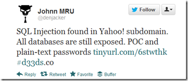 Yahoo! hacked