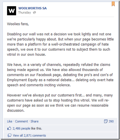 Woolworths Facebook wall shuts down