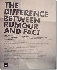Woolworths Rumour and fact
