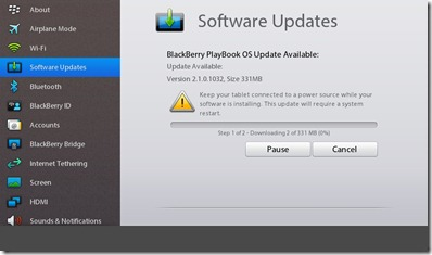 Blackberry Playbook - 2.1 update