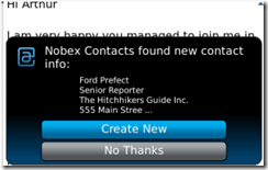 Nobex Contacts - add contacts from signitures to your Blackbbery