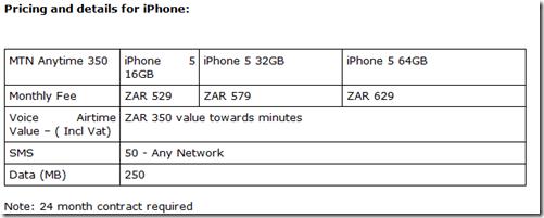 MTN iphone 5 - price