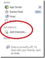 Facebook Interest list
