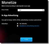 BlackBerry® App Generator - Monetize