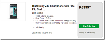 When will BlackBerry 10 be in South Africa