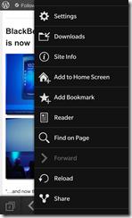BlackBerry Z10 - Browser options