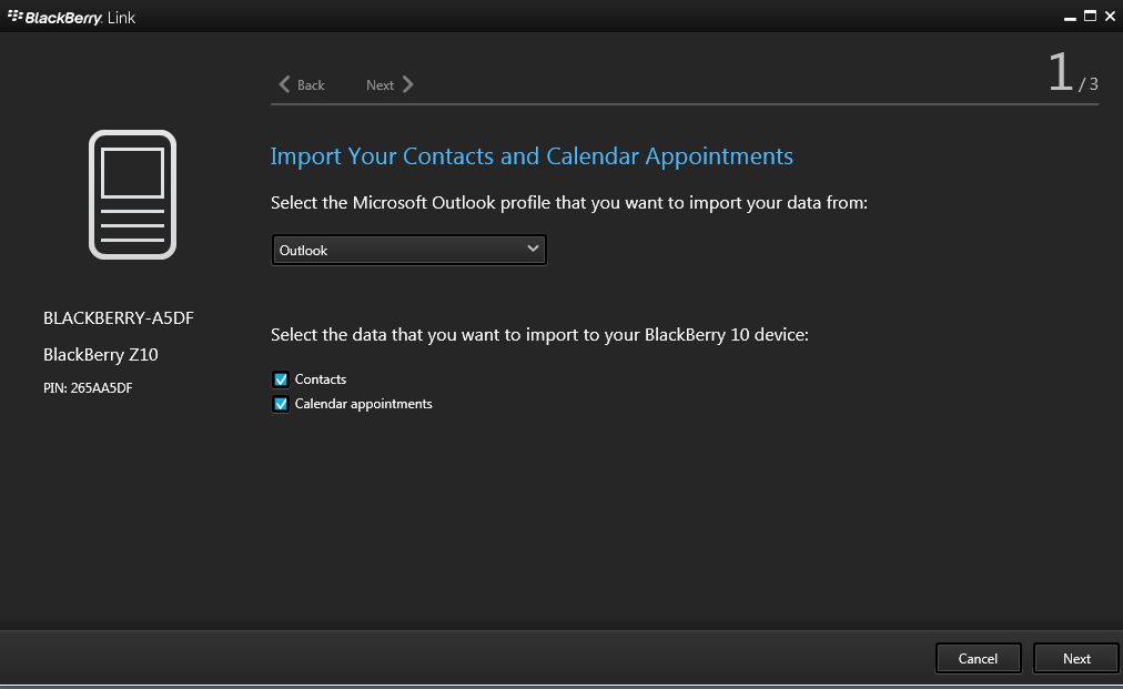 Blackberry contacts not updating in outlook