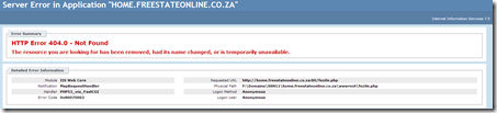 Freestate site: error