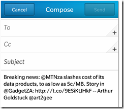 Twitter update BlackBerry Z10